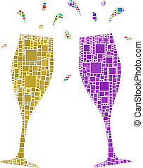 two flutes for a cheers - The figure is composed of a mesh...