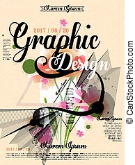 poster template design with elegant floral and geometric...