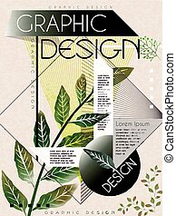 poster template design with green leaves and geometric...
