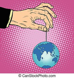 Planet earth in hand on the rope