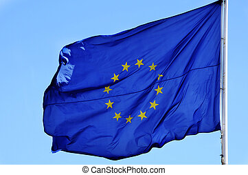 european flag - an european flag waving in the wind