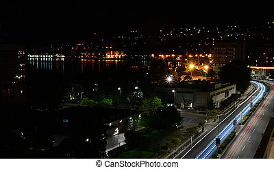 Beautiful night panoramic view of Kavala, Greece