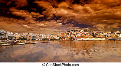 Panoramic view of Kavala on beautiful unreal sunset, Greece