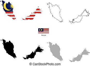 Malaysia country black silhouette and with flag on background