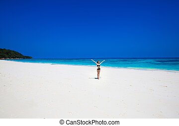 Happy free woman Raising Hands - Enjoyment Seashore Happy...