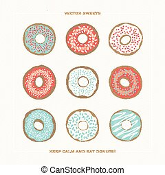 eat donuts - set of colorful donuts over paper background...
