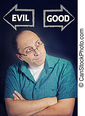 Adult man choosing between GOOD and EVIL - Portrait of Adult...