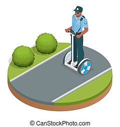 Police officer on fashionable two-wheeled Self-balancing electric scooter vector isometric illustrations. Intelligent and fashionable personal transportation tool with interactive function.