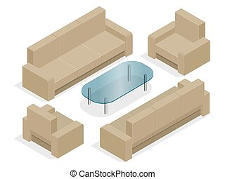 Sofa with armchairs isolated on white. Flat 3d isometric illustration.