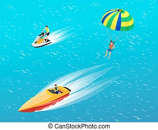 Man parasailing with parachute behind the motor boat....