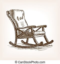 Rocking chair sketch style vector illustration. Old...