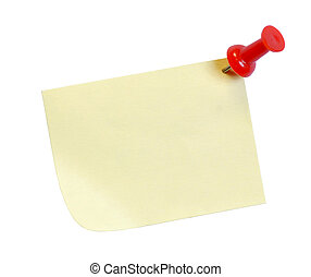 yellow post it note with tack isolated on white