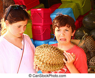 teenage girl and boy smell durian - preteen boy smell durian...