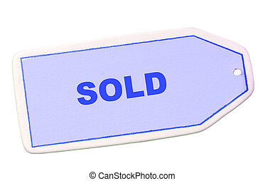 sale tag with sold - sale tag or label with the word sold on...