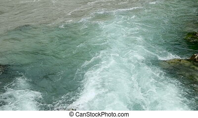 turbulent water in the river in Abkhazia - the turbulent...