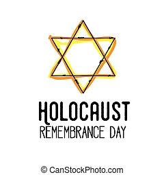 Holocaust remembrance day Vector card Jewish culture -...