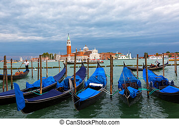 Gondolas floating in the Grand Canal, Venice, Italy
