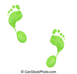 neon green painted foot prints on white background