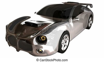 transparent car concept with visible engine and transmission