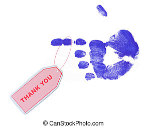 thank you tag on finger - pink thank you tag on blue pointed...