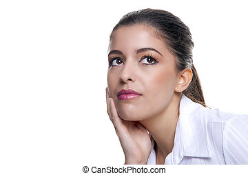 Businesswoman thinking about something - Attractive brunette...
