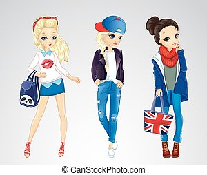 Girls Dressed In Jeens Style - Vector illustration of...