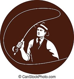 Mobster Gangster Fly Fisherman Circle Retro - Illustration...