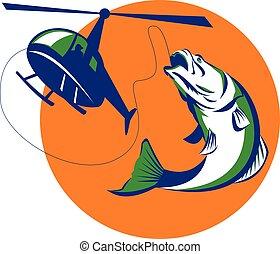 Barramundi Heli Fishing Sun Retro - Illustration of...