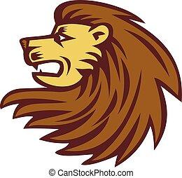 Lion Big Cat Head Woodcut