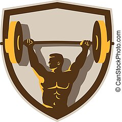 Weightlifter Lifting Barbell Crest Retro - Illustration of a...