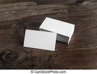 White business cards - Blank white business cards on dark...