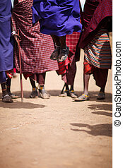 Masai - Group of masai people participating in traditional...