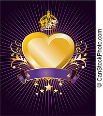 Heart label - Label with a golden, crowned and winged heart...