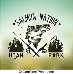 Vintage Salmon fishing emblems - Salmon Fishing emblem on...