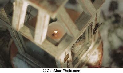 Wooden Glazed Lantern With Burning Candle Inside