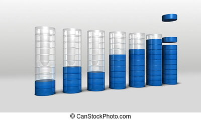 Increase economic graph 3D circle Bar Chart 2included alpha...