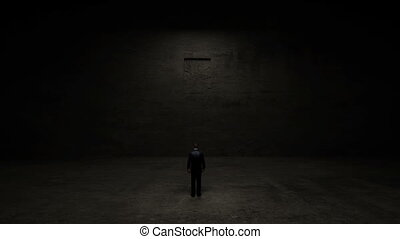 Businessman standing front of door - Businessman standing in...