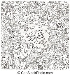 Doodles line art abstract decorative nautical vector frame...