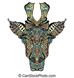 Giraffe. Hand drawn giraffe with ethnic floral doodle...