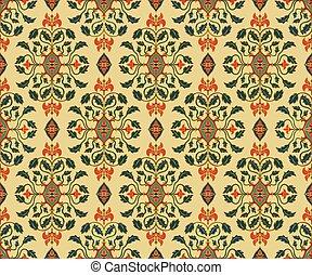 Beige floral wallpaper.