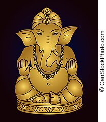Golden Lord Ganesha. - Vector Lord Ganesha. Golden Ganesh on...