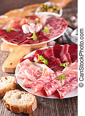 assorted meat and delicatessen