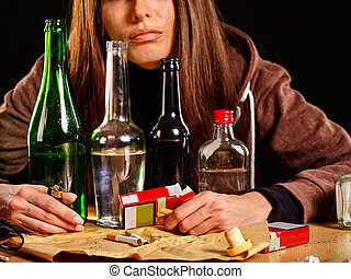 Girl in depression drinking alcohol Drinking habits - Girl...