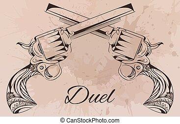 vector, vendimia, Ilustración, de, dos, revolvers.,...