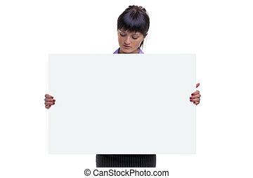 Woman looking at a blank sign
