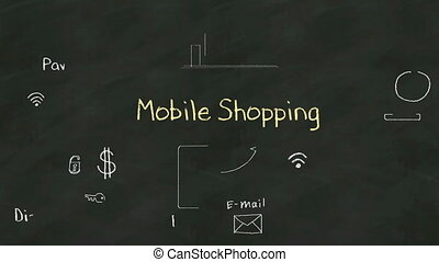 Handwriting of 'mobile shopping' - Handwriting concept of...