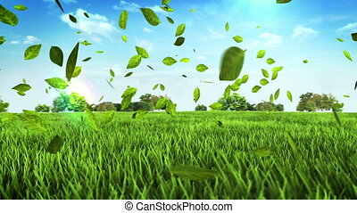 Green car made leaves on field - Eco green car made from...