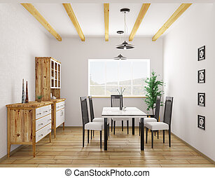 Interior of classic dining room 3d rendering - Interior of...