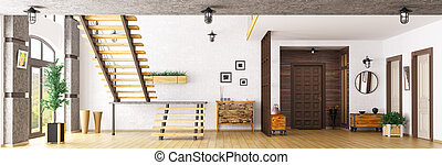 Hall with staircase 3d rendering
