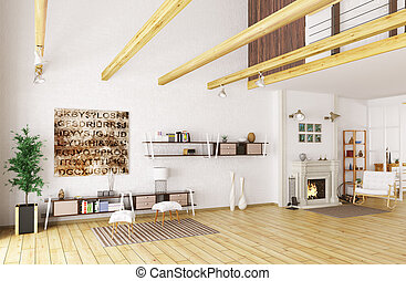 Lounge room interior 3d rendering - Interior of lounge room...